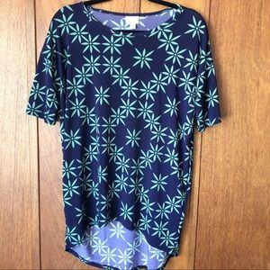 LuLaRoe Irma Hi-Lo Navy Blue/Green T-Shirt